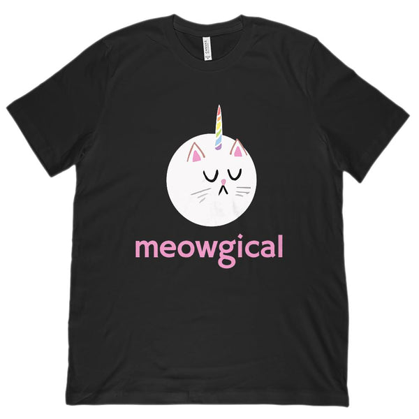 (Unisex BC 3001 Soft Tee) Meowgical Round Unikitty Cat, Unicorn Cat Kawaii Graphic T-Shirt Tee BOXELS