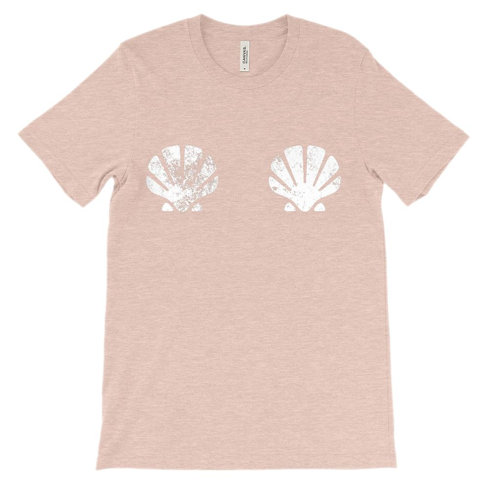 (Unisex BC 3001 Soft Tee) Mermaid Sea Shells Over Bosom Graphic T-Shirt Tee BOXELS