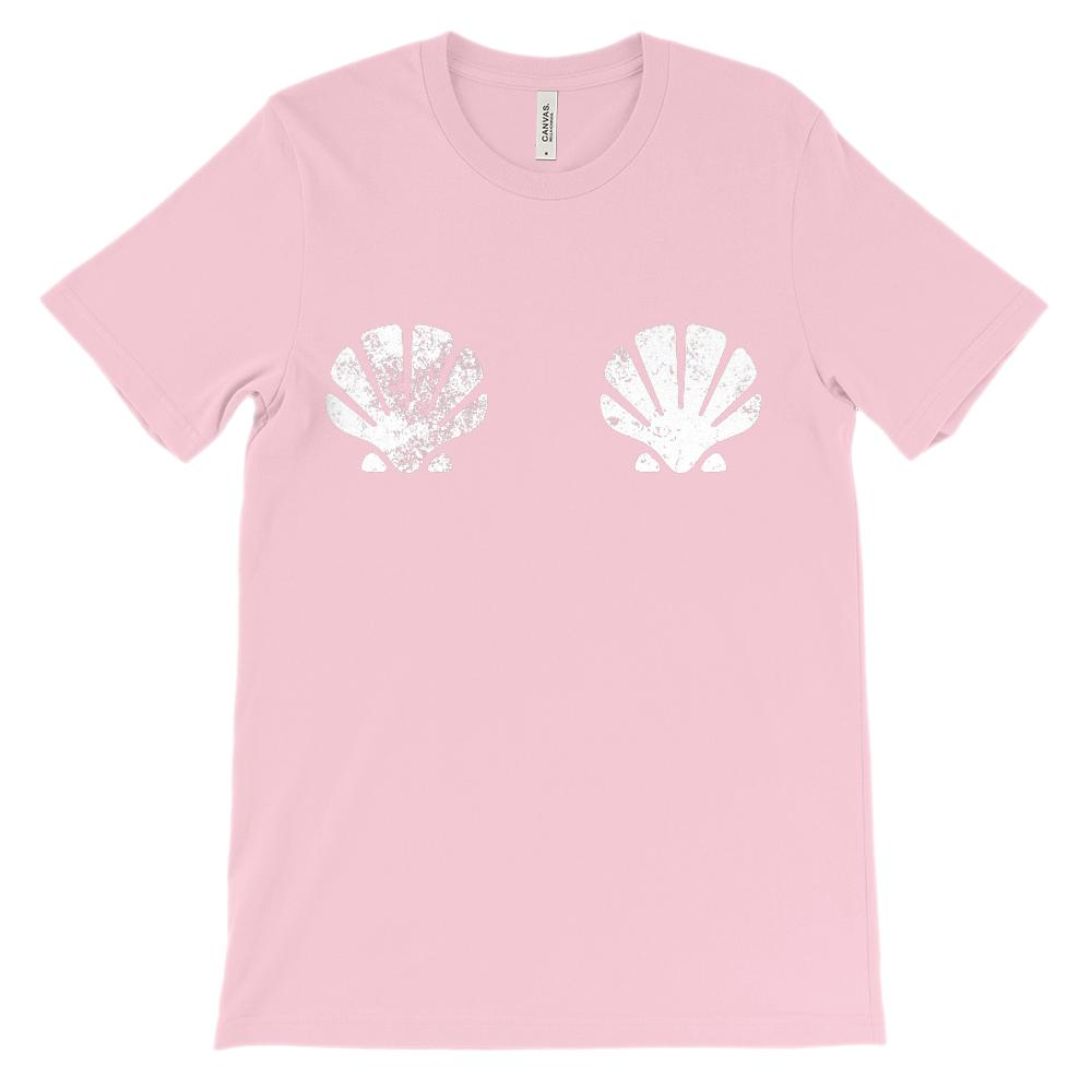 (Unisex BC 3001 Soft Tee) Mermaid Sea Shells Over Bosom