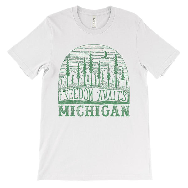 (Unisex BC 3001 Soft Tee) Michigan Freedom Awaits Graphic T-Shirt Tee BOXELS