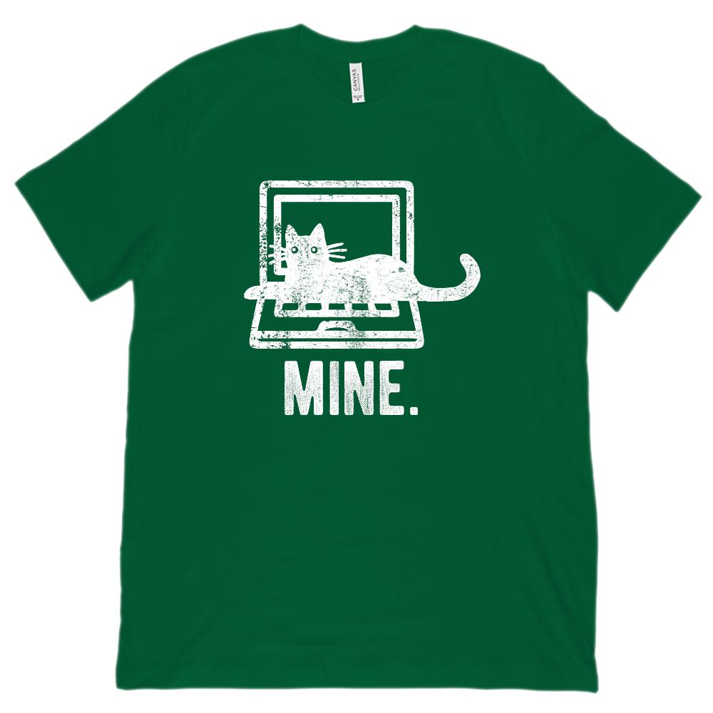 (Unisex BC 3001 Soft Tee) Mine. Laptop Kitten Cat Computer Graphic T-Shirt Tee BOXELS