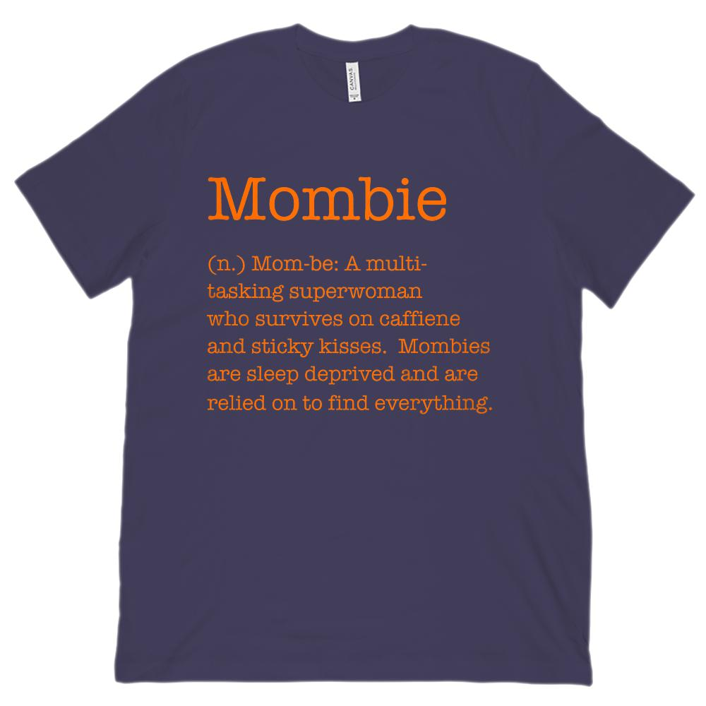 (Unisex BC 3001 Soft Tee) Mombie (Mom Zombie) Noun Definition Orange Font Graphic T-Shirt Tee BOXELS