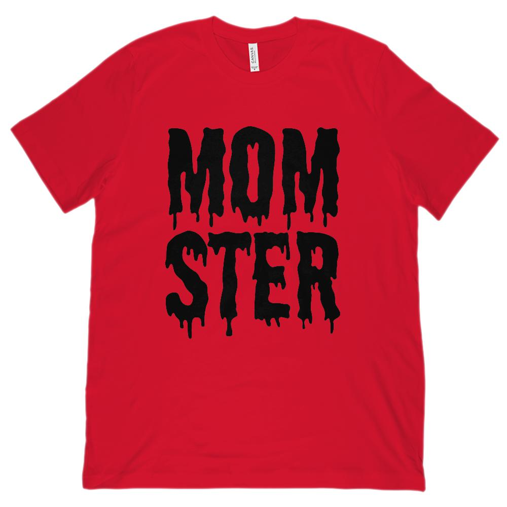 (Unisex BC 3001 Soft Tee) Momster (mom monster) Black Shlop Font Graphic T-Shirt Tee BOXELS