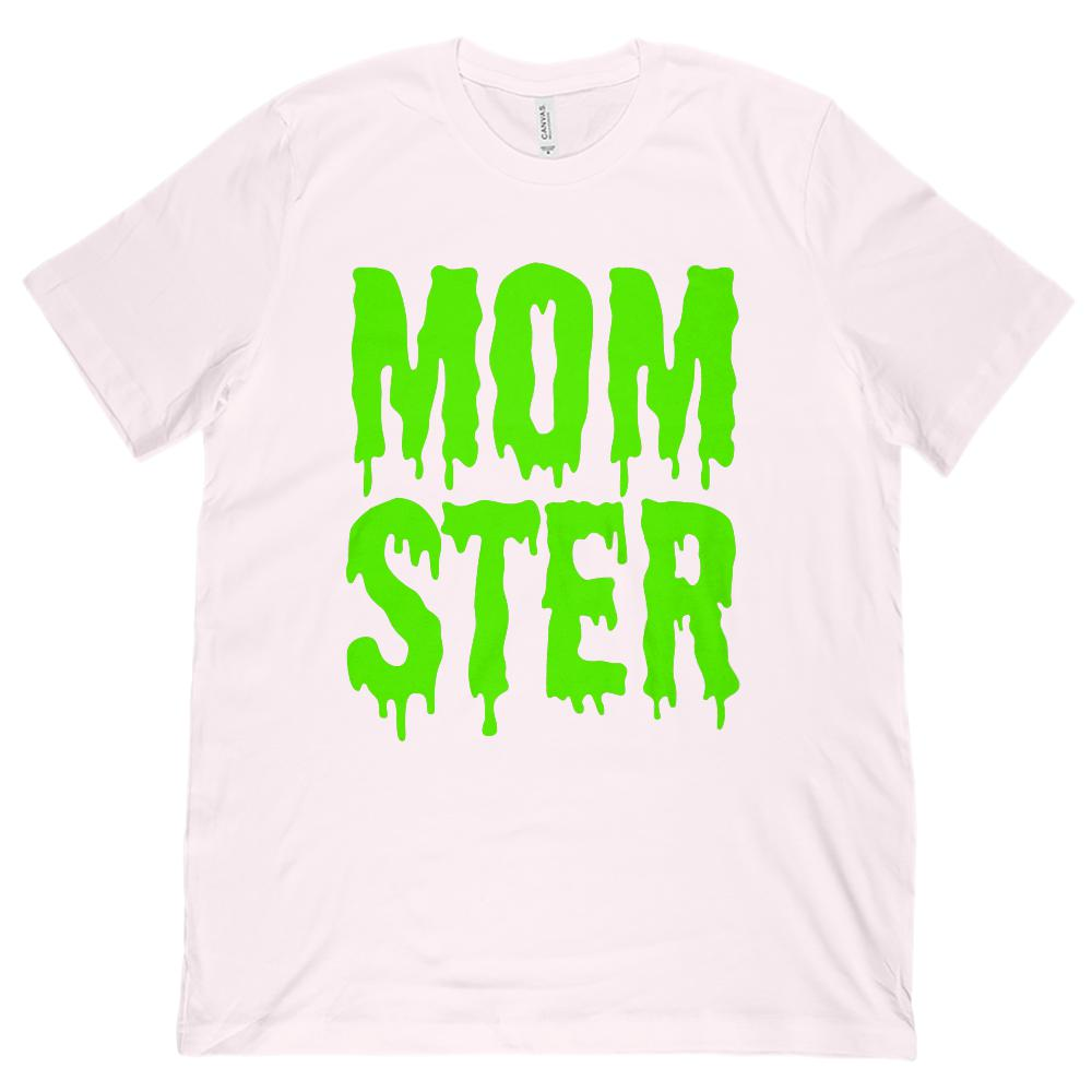(Unisex BC 3001 Soft Tee) Momster (mom monster) Green Shlop Font Graphic T-Shirt Tee BOXELS