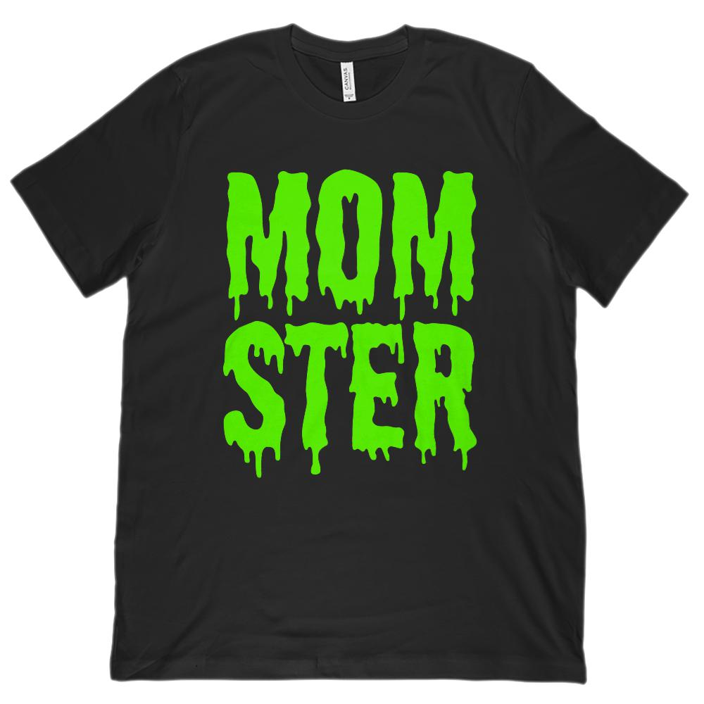 (Unisex BC 3001 Soft Tee) Momster (mom monster) Green Shlop Font