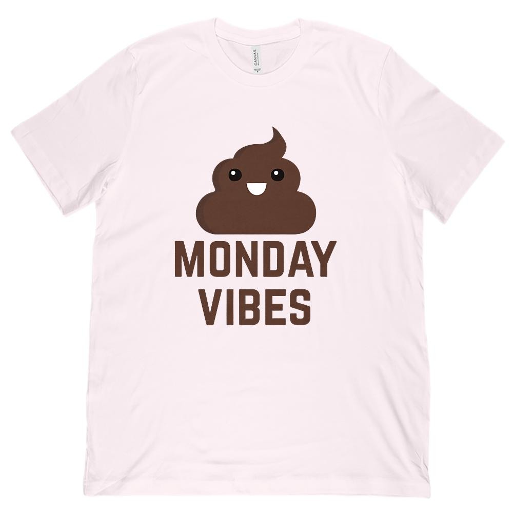 (Unisex BC 3001 Soft Tee) Monday Vibes (poop emoji) Funny Graphic Tee Graphic T-Shirt Tee BOXELS