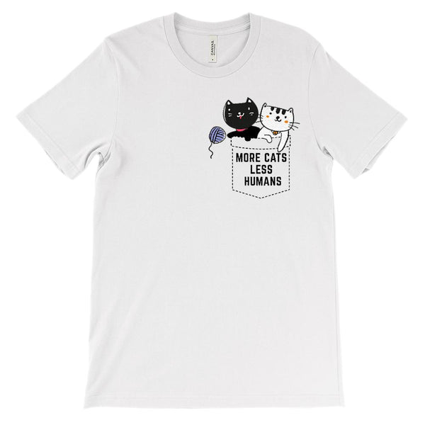 (Unisex BC 3001 Soft Tee) More Cats Less Humans Fake Pocket Graphic T-Shirt Tee BOXELS