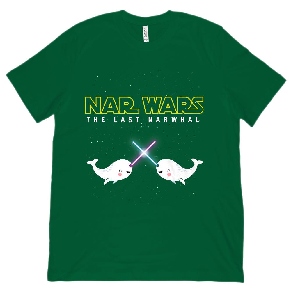 (Unisex BC 3001 Soft Tee) Nar Wars Narwhal Cute Space Saber Star Last Narwhal Graphic T-Shirt Tee BOXELS