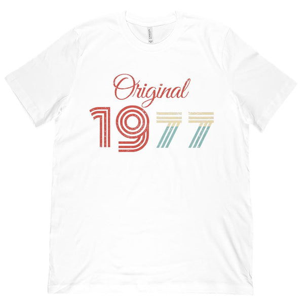 (Unisex BC 3001 Soft Tee) Original 1977 - Made in the Year Graphic T-Shirt Tee BOXELS