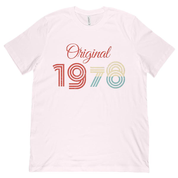 (Unisex BC 3001 Soft Tee) Original 1978 - Made in the Year Graphic T-Shirt Tee BOXELS