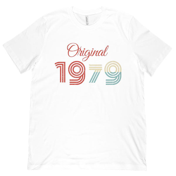 (Unisex BC 3001 Soft Tee) Original 1979 - Made in the Year Graphic T-Shirt Tee BOXELS