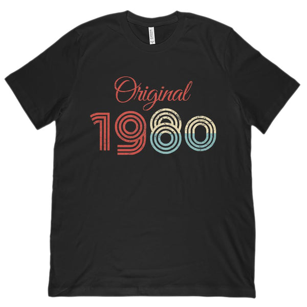 (Unisex BC 3001 Soft Tee) Original 1980 - Made in the Year Graphic T-Shirt Tee BOXELS