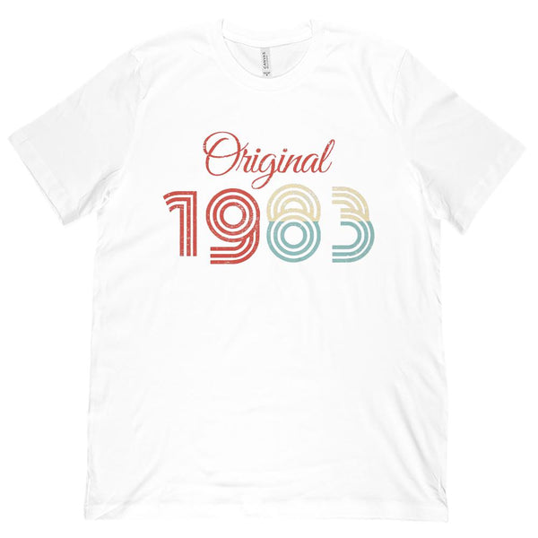 (Unisex BC 3001 Soft Tee) Original 1983 - Made in the Year Graphic T-Shirt Tee BOXELS