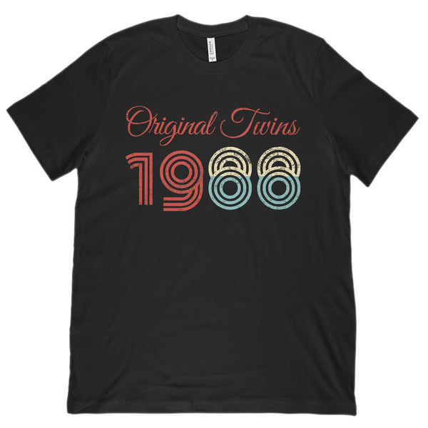 (Unisex BC 3001 Soft Tee) Original Twins 1988 - Made in the Year Graphic T-Shirt Tee BOXELS