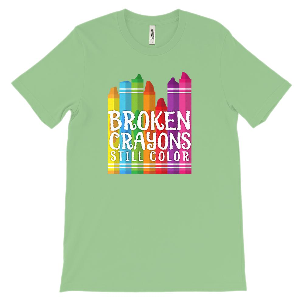 (Unisex BC 3001 Soft Tee - Other Colors) Broken Crayons Still Color Graphic T-Shirt Tee BOXELS