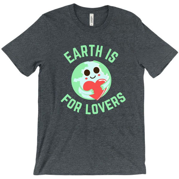 (Unisex BC 3001 Soft Tee - Other Colors) Earth is for Lovers Heart Hugging Globe Earth Graphic T-Shirt Tee BOXELS