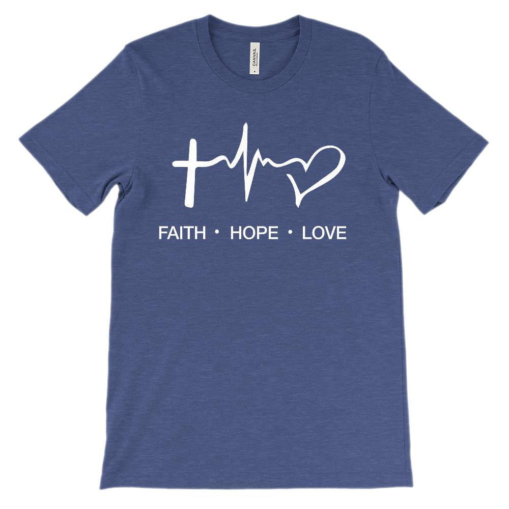 (Unisex BC 3001 Soft Tee - Other Colors ) Faith Hope Love Heartbeat Pulse Graphic T-Shirt Tee BOXELS