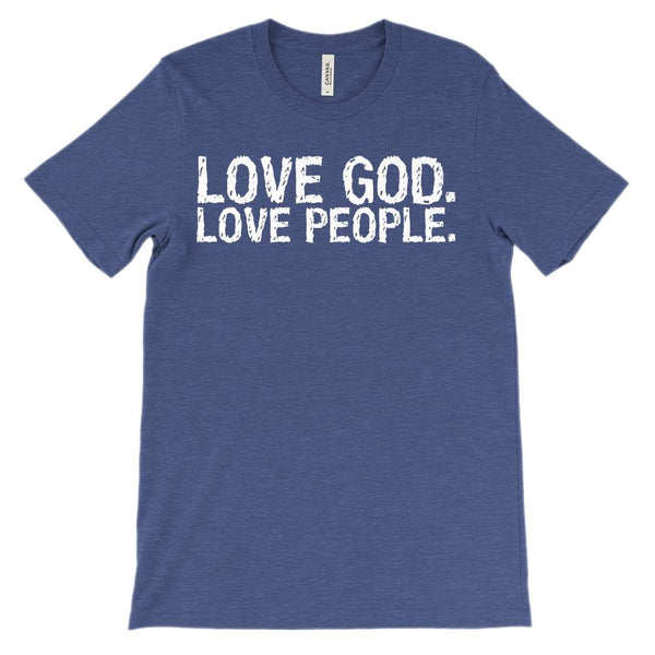 (Unisex BC 3001 Soft Tee - Other Colors) Love God. Love People. (white font) Graphic T-Shirt Tee BOXELS