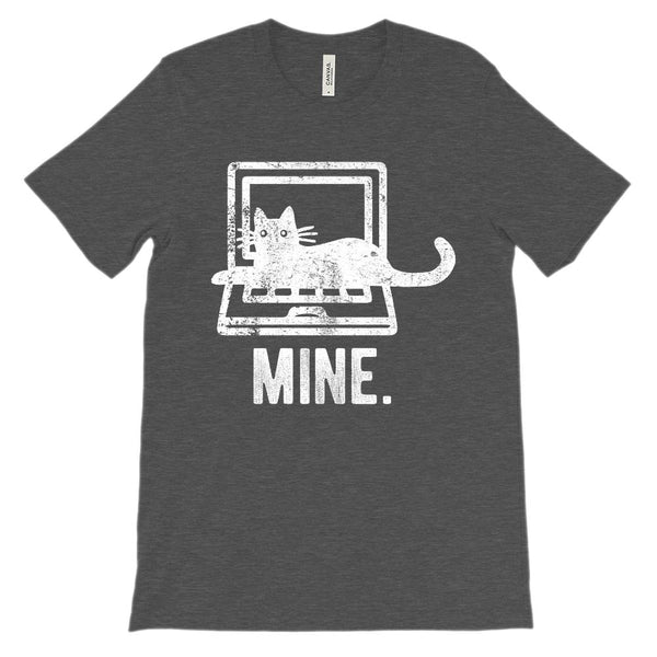 (Unisex BC 3001 Soft Tee - Other Colors) Mine. Laptop Kitten Cat Computer Graphic T-Shirt Tee BOXELS