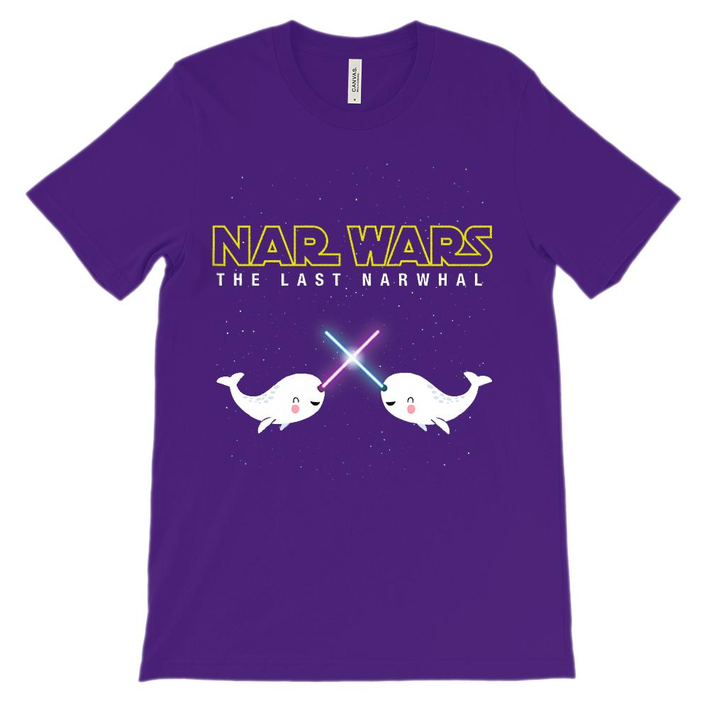 (Unisex BC 3001 Soft Tee Other Colors) Nar Wars Narwhal Cute Space Saber Graphic T-Shirt Tee BOXELS