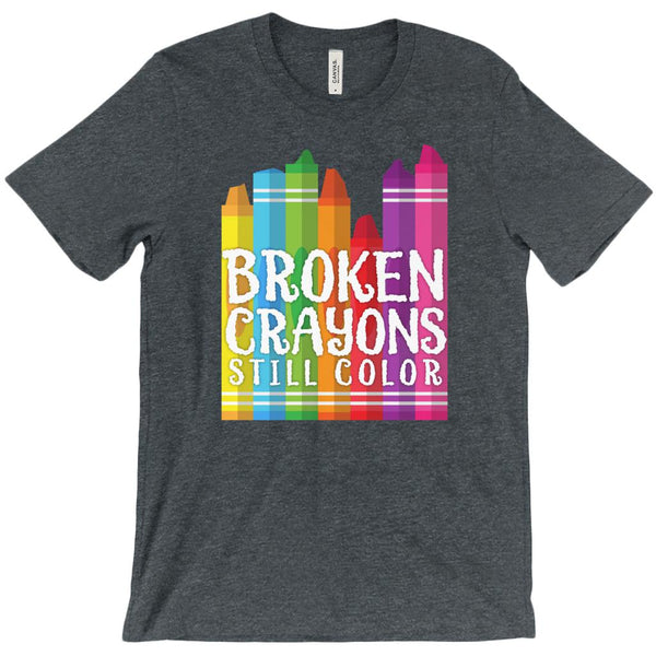 (Unisex BC 3001 Soft Tee - Other Trendy Colors) Broken Crayons Still Color Teacher Tee Graphic T-Shirt Tee BOXELS