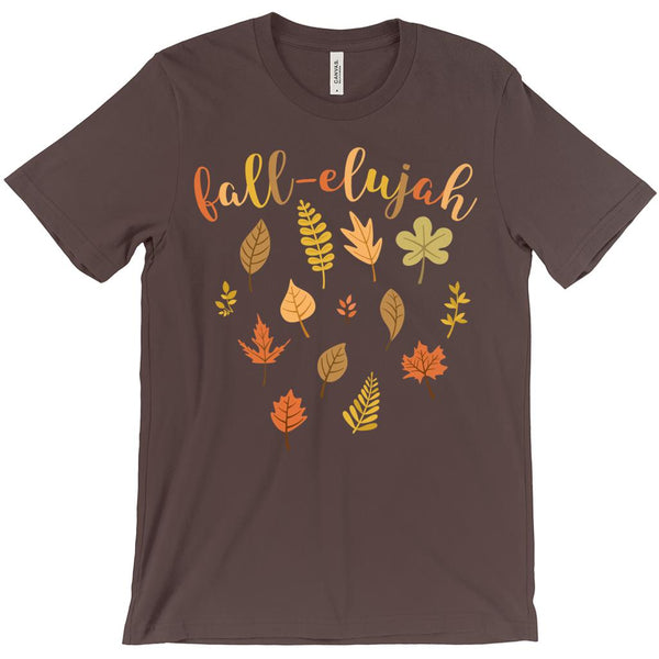 (Unisex BC 3001 Soft Tee - Other Trendy Colors) Fall-elujah (fall haleluja) Leaves Autum Graphic T-Shirt Tee BOXELS