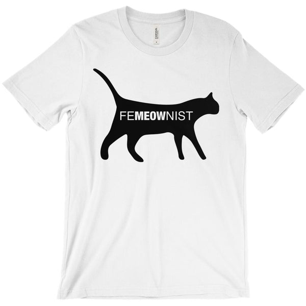 (Unisex BC 3001 Soft Tee - Other Trendy Colors) FeMEOWist Cat Feminine Feminist Graphic T-Shirt Tee BOXELS
