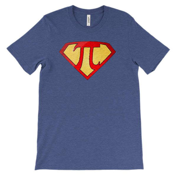 (Unisex BC 3001 Soft Tee - Other Trendy Colors) Super Pi Math Super Hero Graphic T-Shirt Tee BOXELS