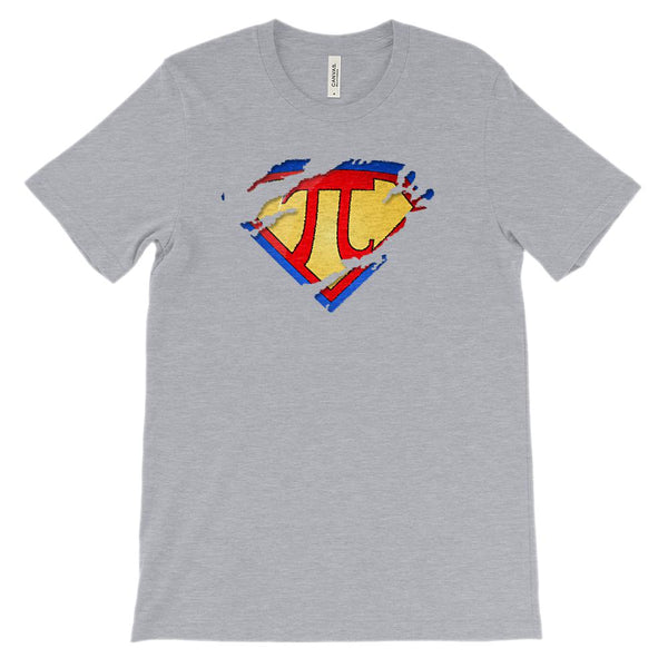 (Unisex BC 3001 Soft Tee - Other Trendy Colors) Super Pi Ripped Math Super Hero Graphic T-Shirt Tee BOXELS