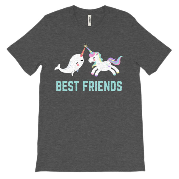 (Unisex BC 3001 Soft Tee - Others) Best Friends Unicorn Narwhal Rainbow Magical Graphic T-Shirt Tee BOXELS