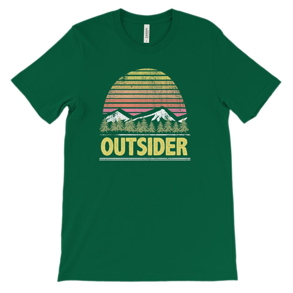 (Unisex BC 3001 Soft Tee) Outsider Sunset Mountain View Graphic T-Shirt Tee BOXELS