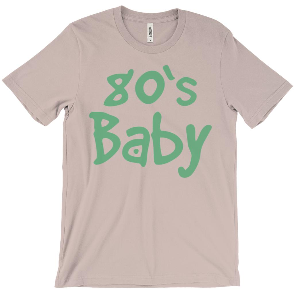 (Unisex BC 3001 Soft Tee - Pebble Brown) 80's Baby Retro Made in Year