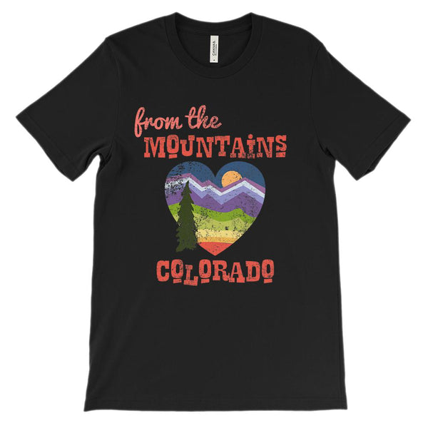 (Unisex BC 3001 Soft Tee - Pebble) Mountains of Colorado CO Graphic T-Shirt Tee BOXELS