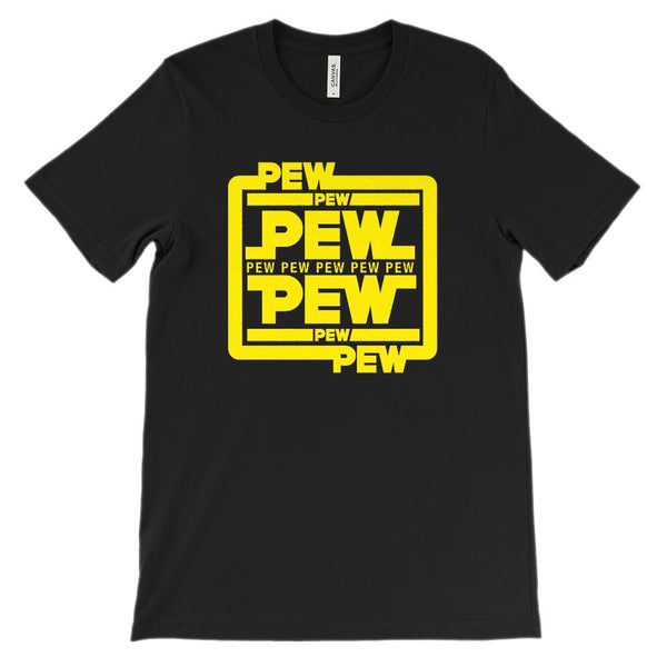 (Unisex BC 3001 Soft Tee) Pew Pew Pew Yellow Star Space Wars Graphic T-Shirt Tee BOXELS