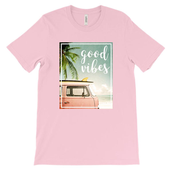 (Unisex BC 3001 Soft Tee Pink) Good Vibes Van Beach Ocean Graphic T-Shirt Tee BOXELS