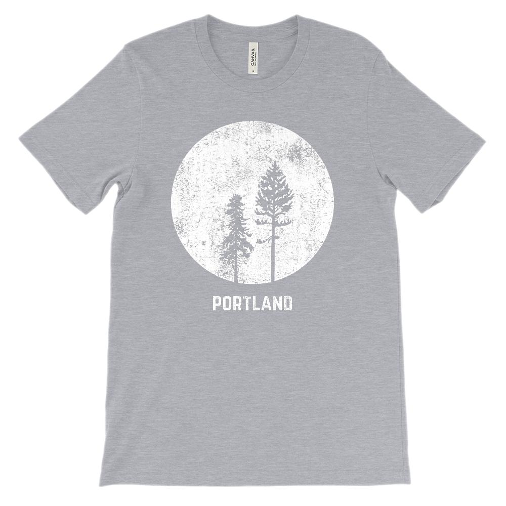 (Unisex BC 3001 Soft Tee) Portland Oregon Moonlight Graphic T-Shirt Tee BOXELS