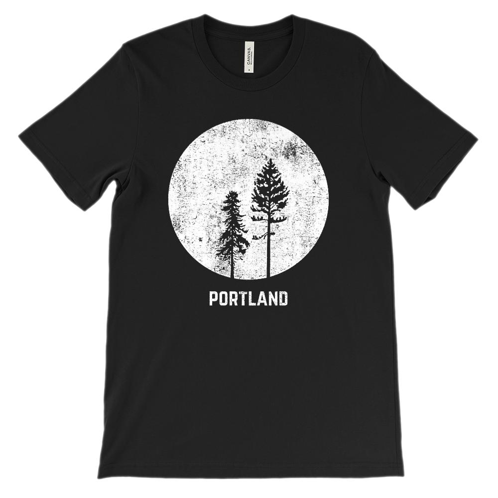 (Unisex BC 3001 Soft Tee) Portland Oregon Moonlight