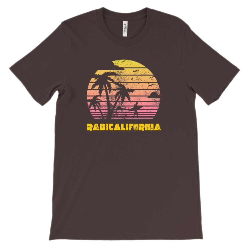 (Unisex BC 3001 Soft Tee) RadiCalifornia Palm Tree Surfing Sunset Outdoors Graphic T-Shirt Tee BOXELS
