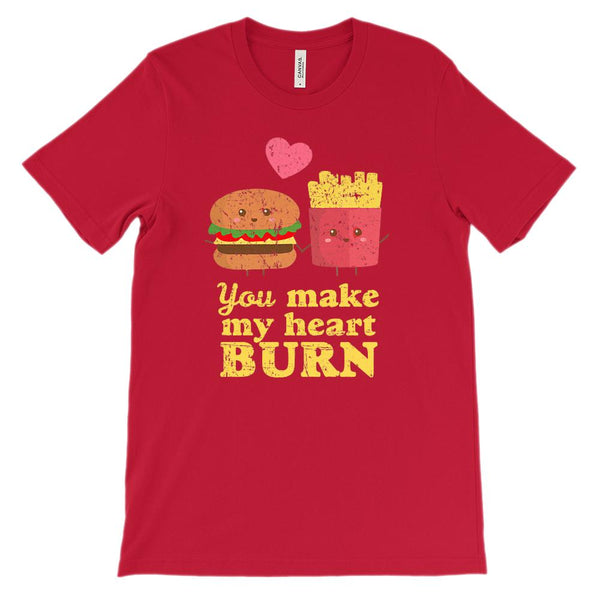 (Unisex BC 3001 Soft Tee - Red) You Make My Heart Burn Fast Food Love Graphic T-Shirt Tee BOXELS