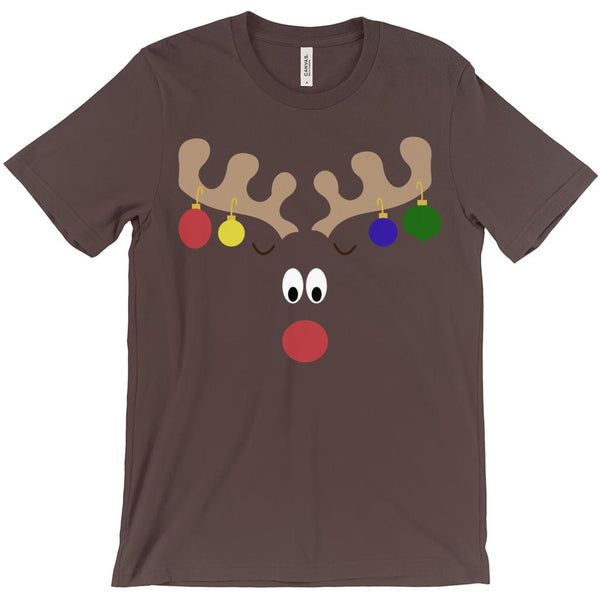 (Unisex BC 3001 Soft Tee) Reindeer Face Holiday Bulbs Antler Hanging Graphic T-Shirt Tee BOXELS
