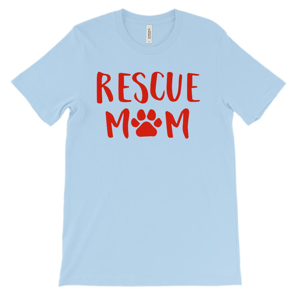 Unisex BC 3001 Soft Tee) Rescue Mom Paw Print (Red font) Graphic T-Shirt Tee BOXELS
