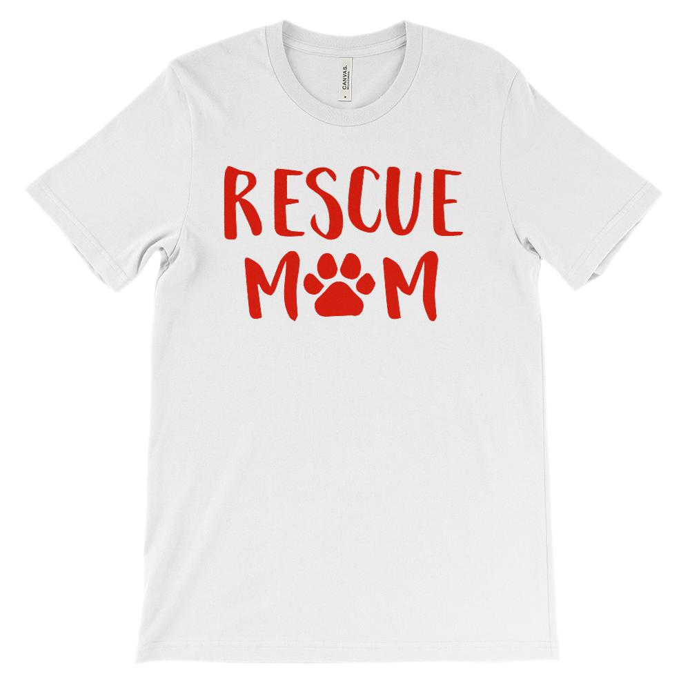 Unisex BC 3001 Soft Tee) Rescue Mom Paw Print (Red font)