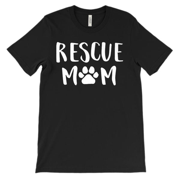 Unisex BC 3001 Soft Tee) Rescue Mom Paw Print (White font) Graphic T-Shirt Tee BOXELS