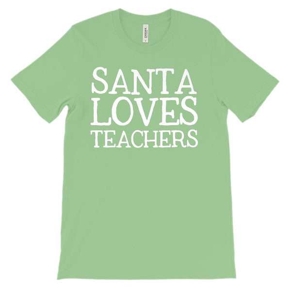 (Unisex BC 3001 Soft Tee) Santa Loves Teachers Cream Font Graphic T-Shirt Tee BOXELS