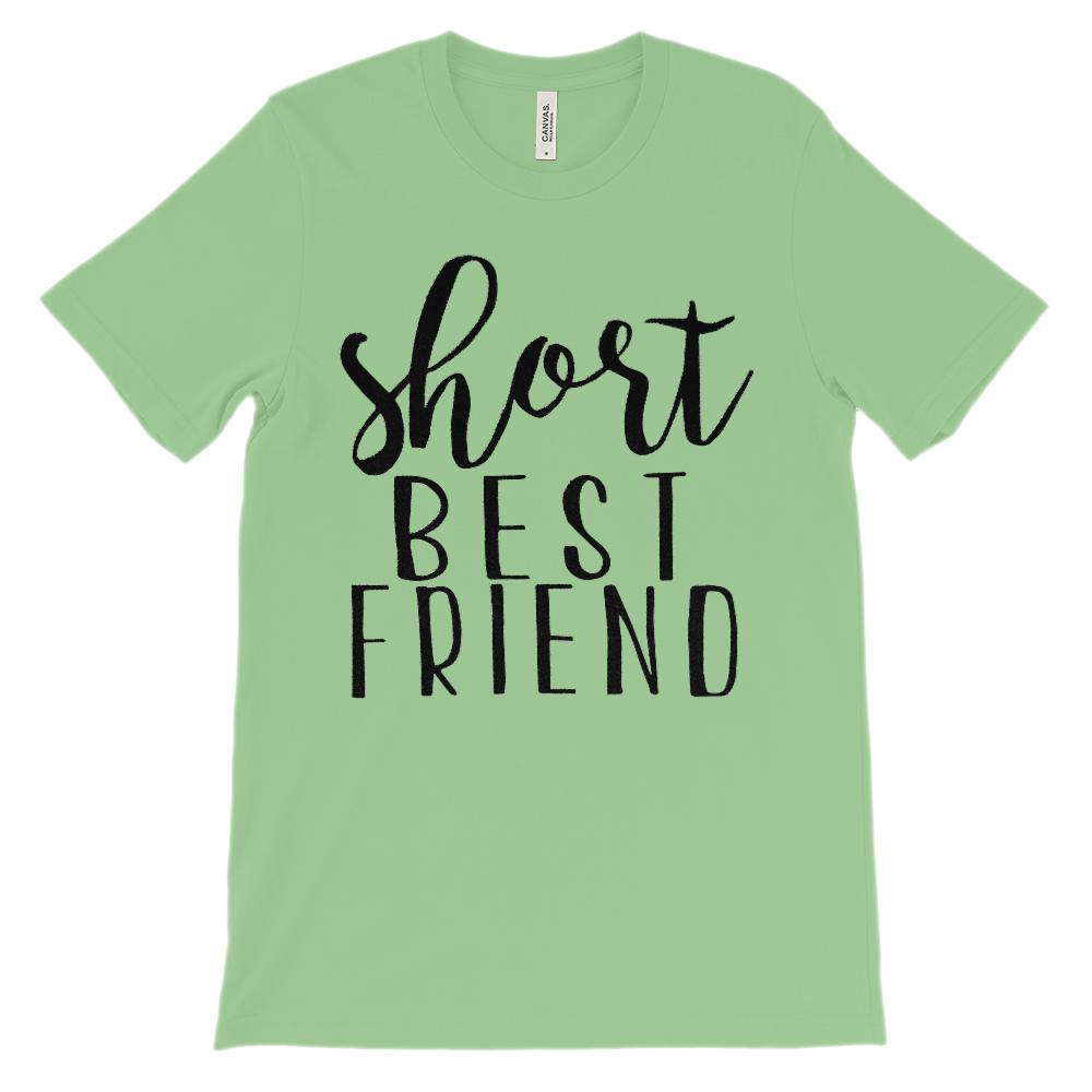 (Unisex BC 3001 Soft Tee) Short Best Friend - Matching (Black) Graphic T-Shirt Tee BOXELS