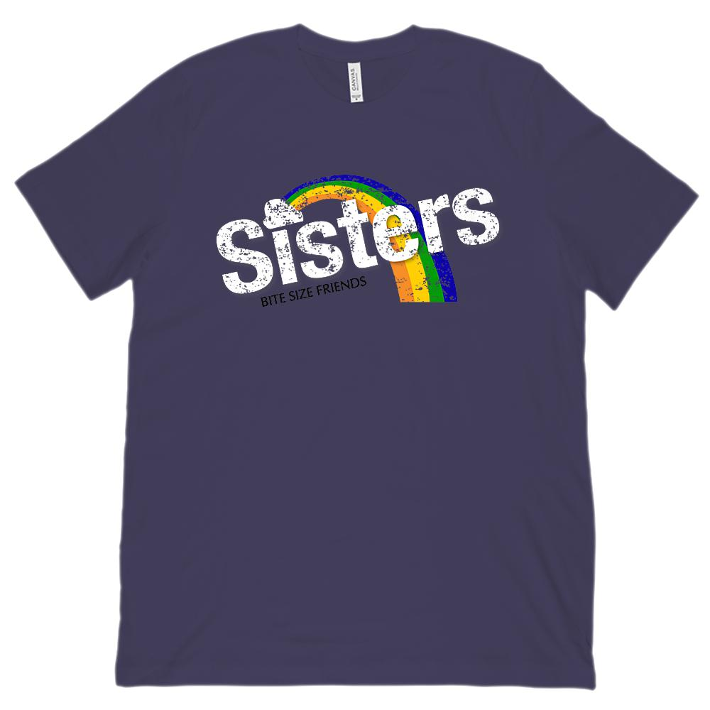 (Unisex BC 3001 Soft Tee) Sisters Bite Size Friends Candy Rainbow Taste Graphic T-Shirt Tee BOXELS