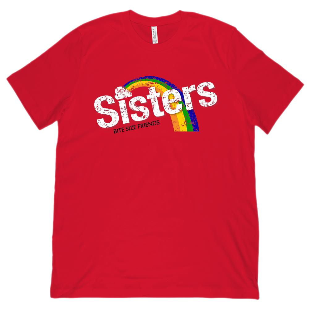 (Unisex BC 3001 Soft Tee) Sisters Bite Size Friends Candy Rainbow Taste