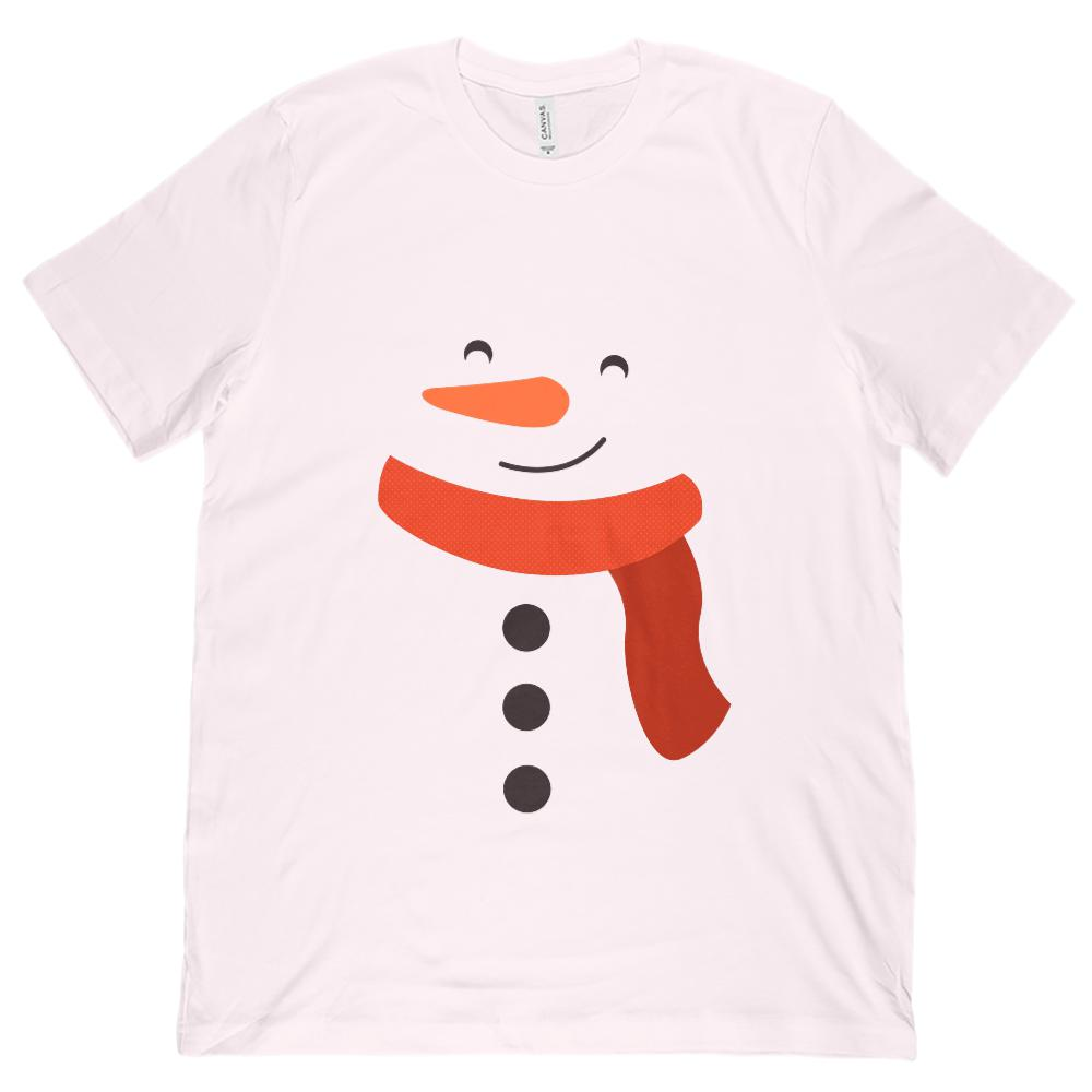 (Unisex BC 3001 Soft Tee) Snowman Face Body Snow Graphic T-Shirt Tee BOXELS