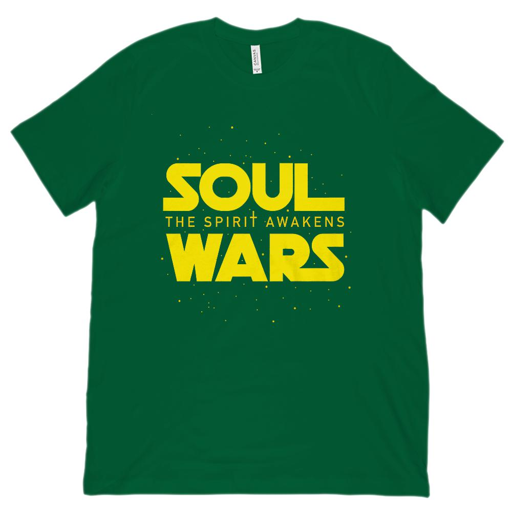 (Unisex BC 3001 Soft Tee) Soul Wars The Spirit Awakens Christian Star Space Graphic T-Shirt Tee BOXELS