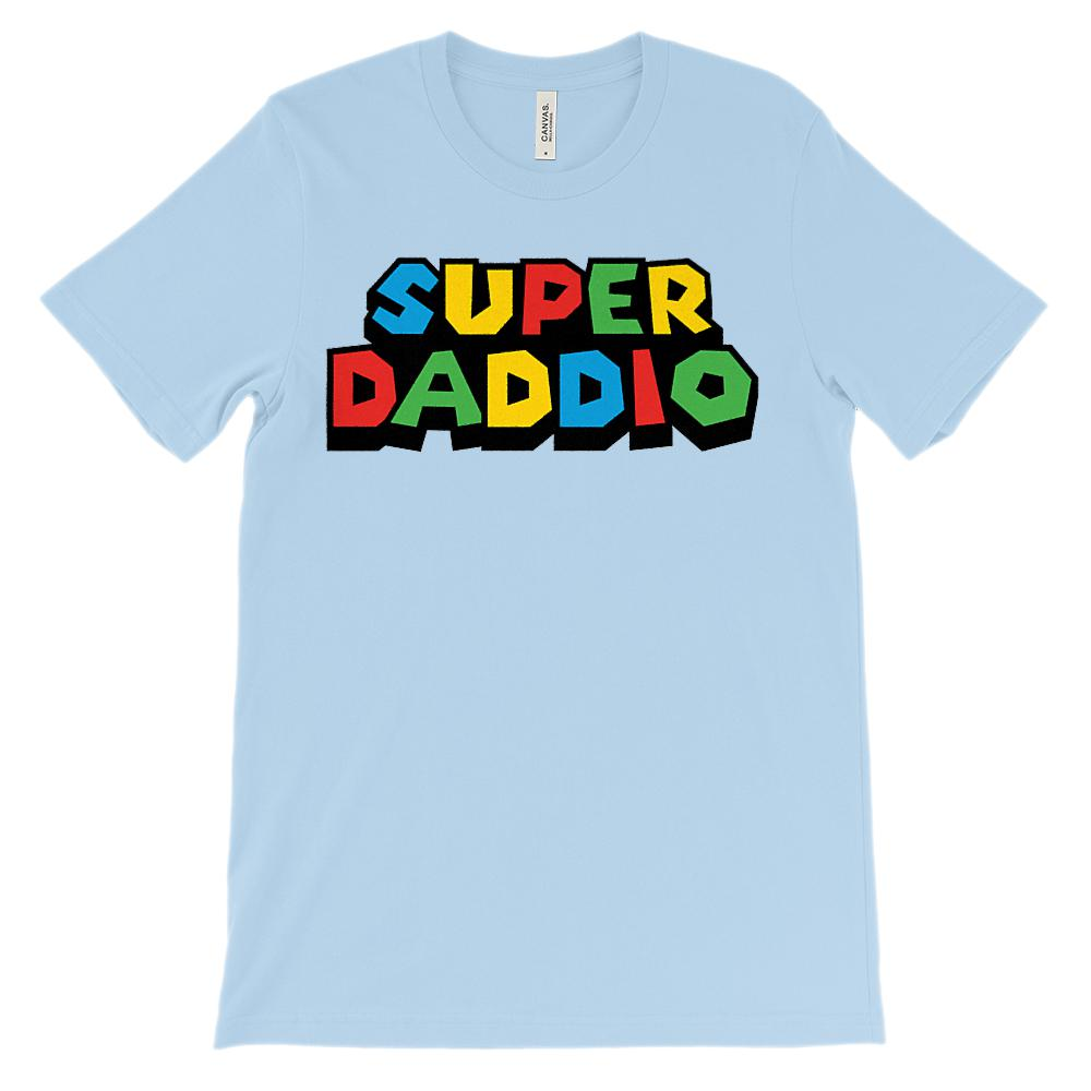 (Unisex BC 3001 Soft Tee) Super Daddio (Dad, Father) Video Game Gamer Parody Graphic T-Shirt Tee BOXELS